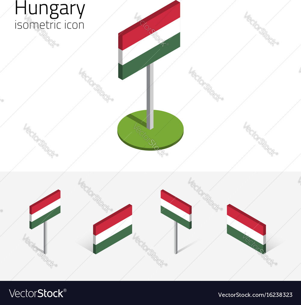 Hungary flag set of 3d isometric icons vector image
