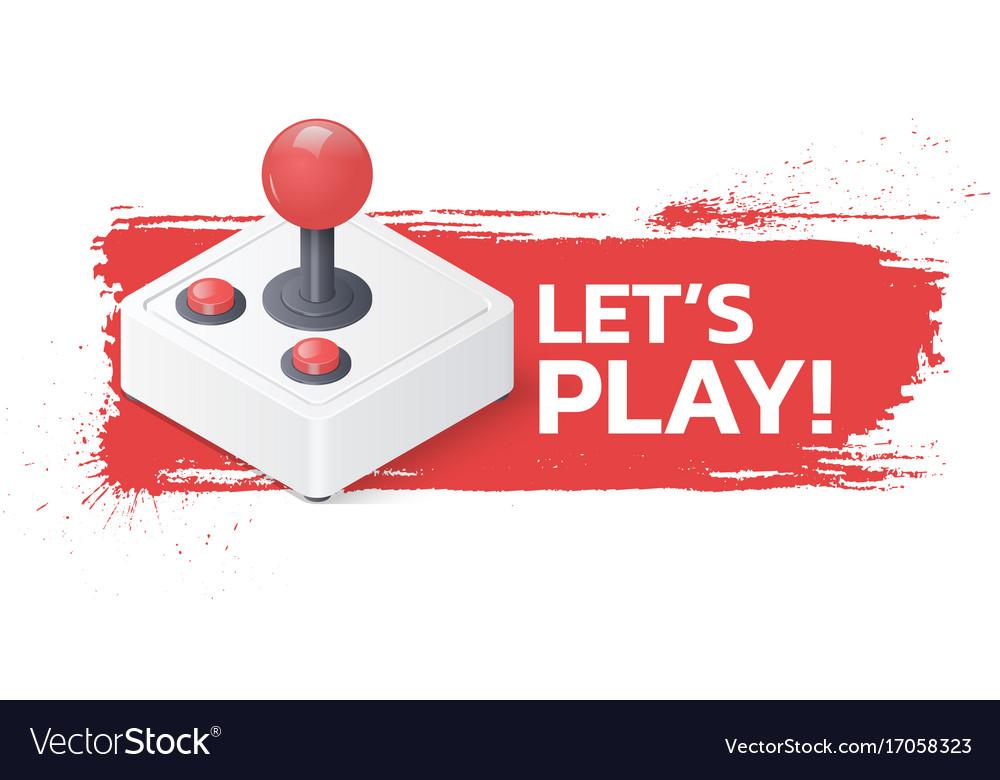 Joystick gamepad on grunge background lets play
