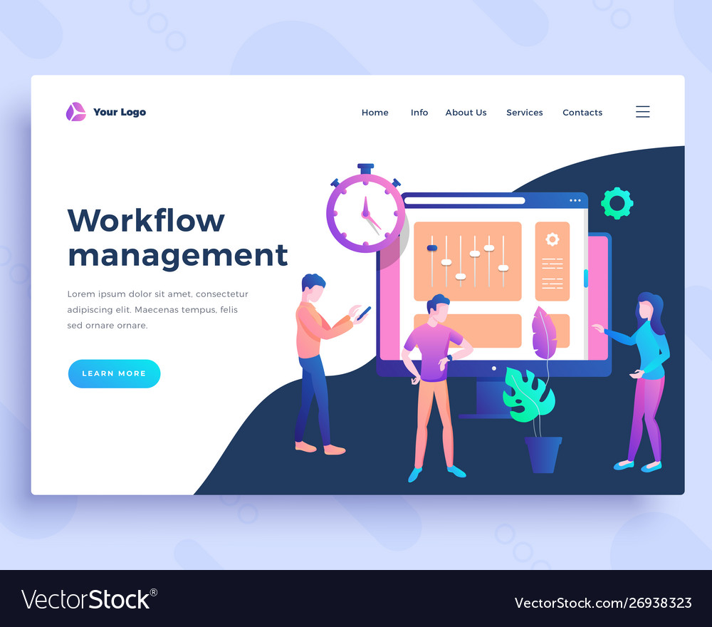 Landing page template workflow management concept