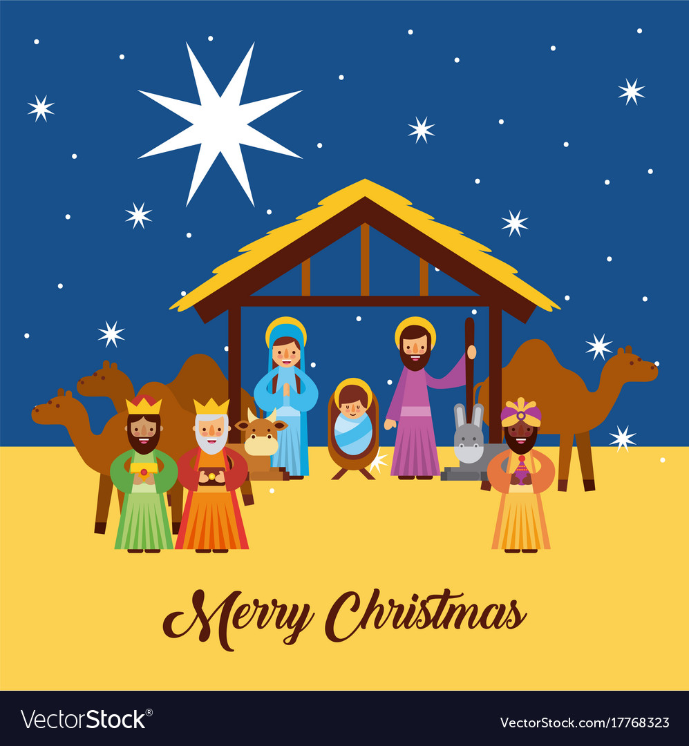 Merry christmas greetings with jesus born in vector image m4hsunfo
