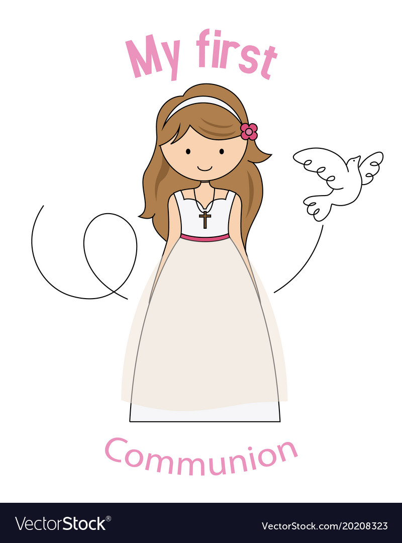 my first communion girl royalty free vector image
