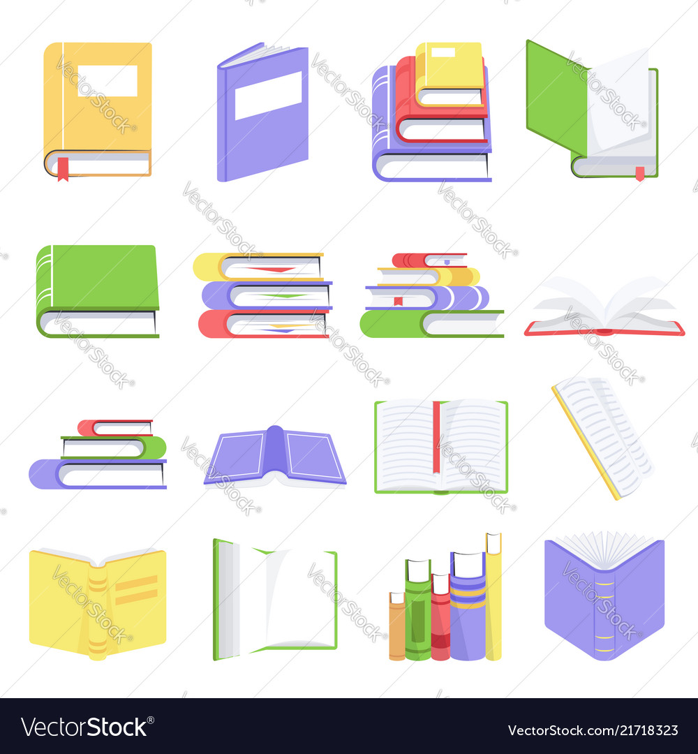Open and closed books with blank pages collection
