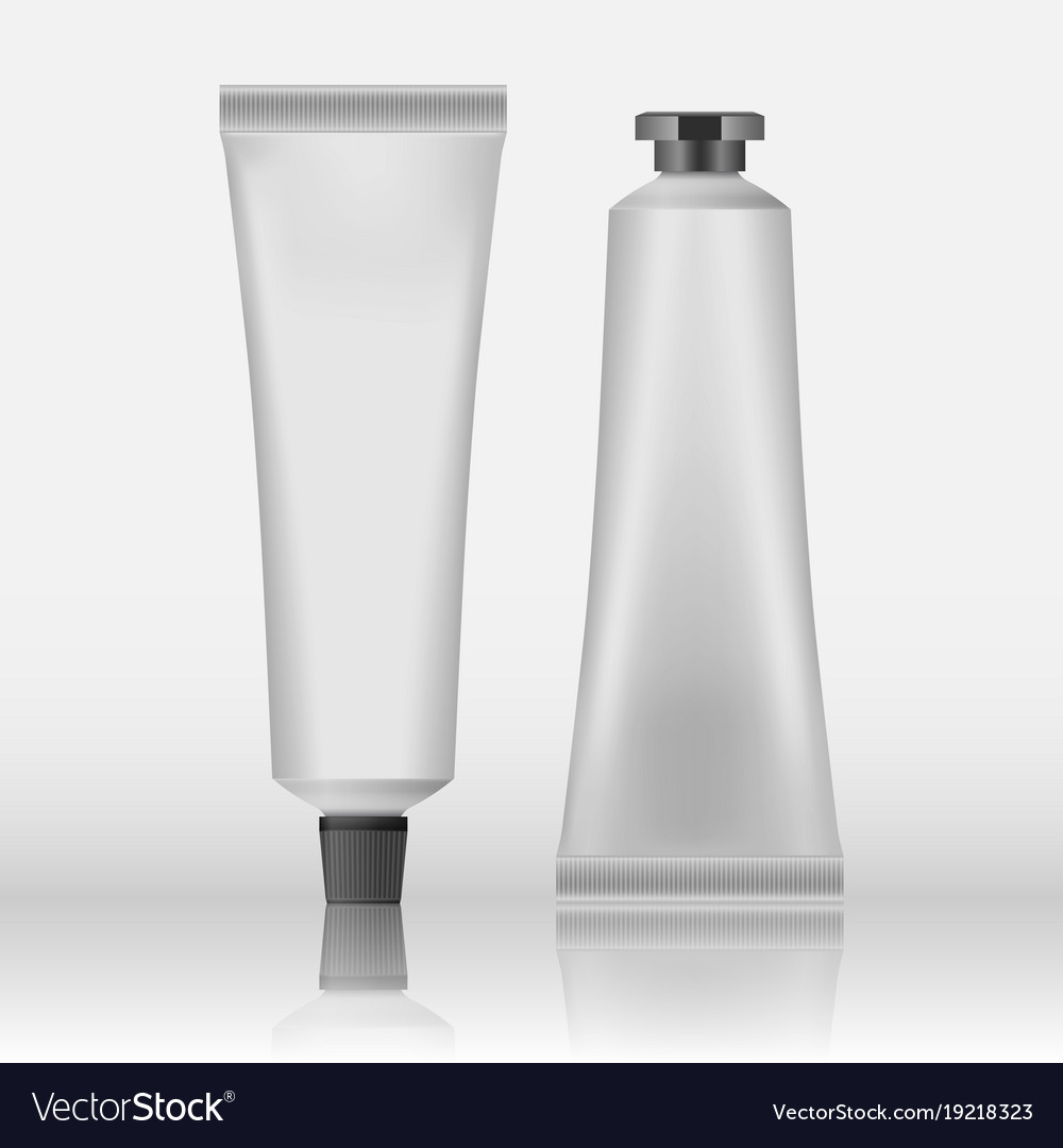 Packing white realistic tubes and package for vector image