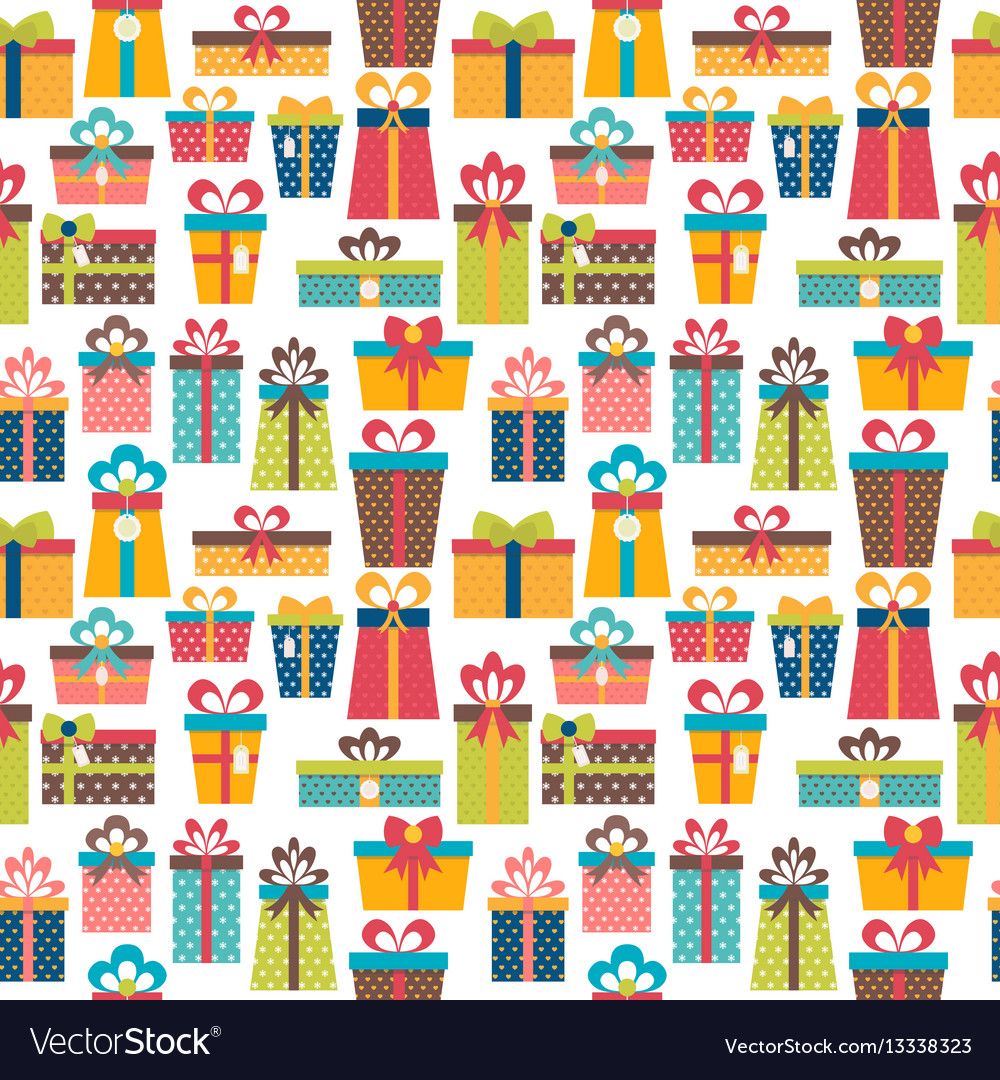 Seamless pattern with colorful gift boxes