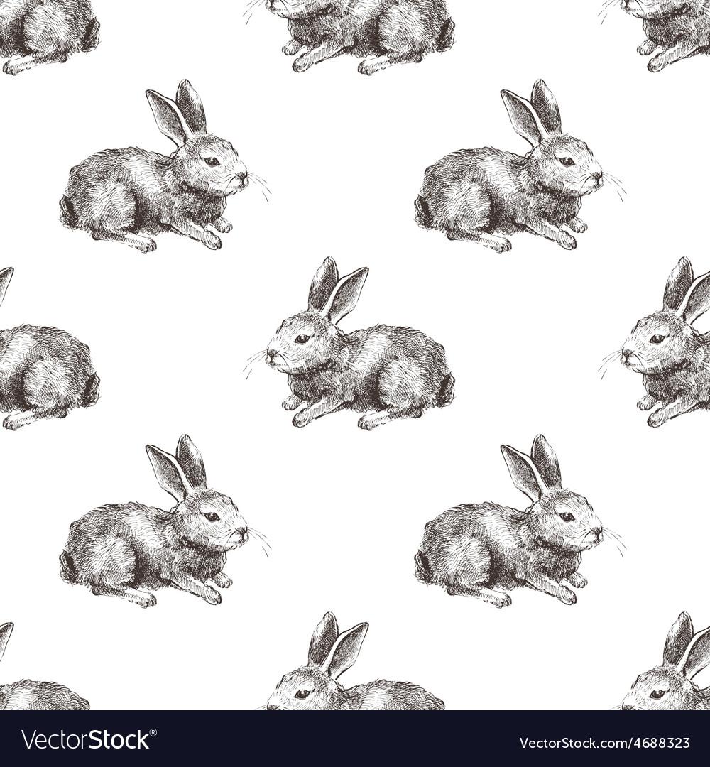 Seamless pattern with hand drawn rabbit