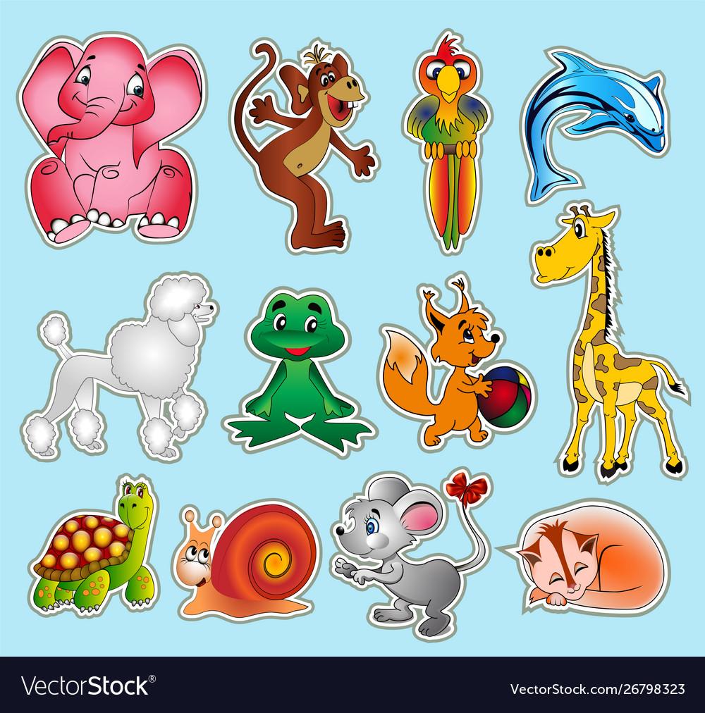 Set animal stickers with giraffe elephant