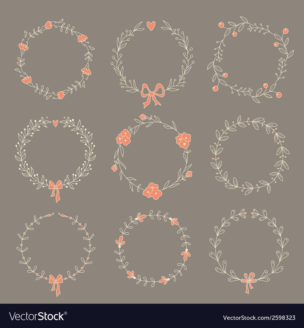 Set of 9 hand drawn wreaths