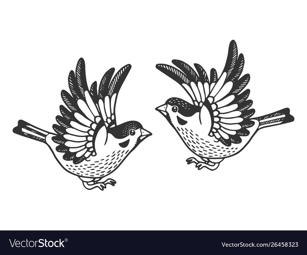 Sparrow birds tattoo sketch engraving