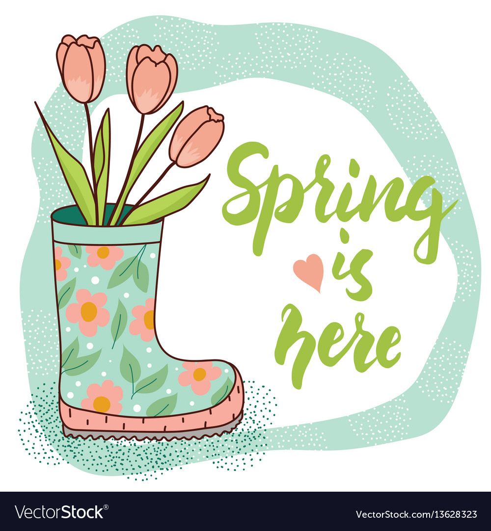 Spring card with rain boot and tulips