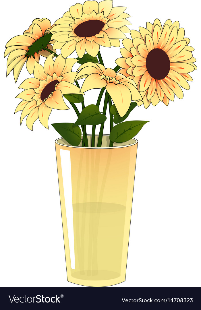 Yellow Flowers In A Yellow Vase Royalty Free Vector Image