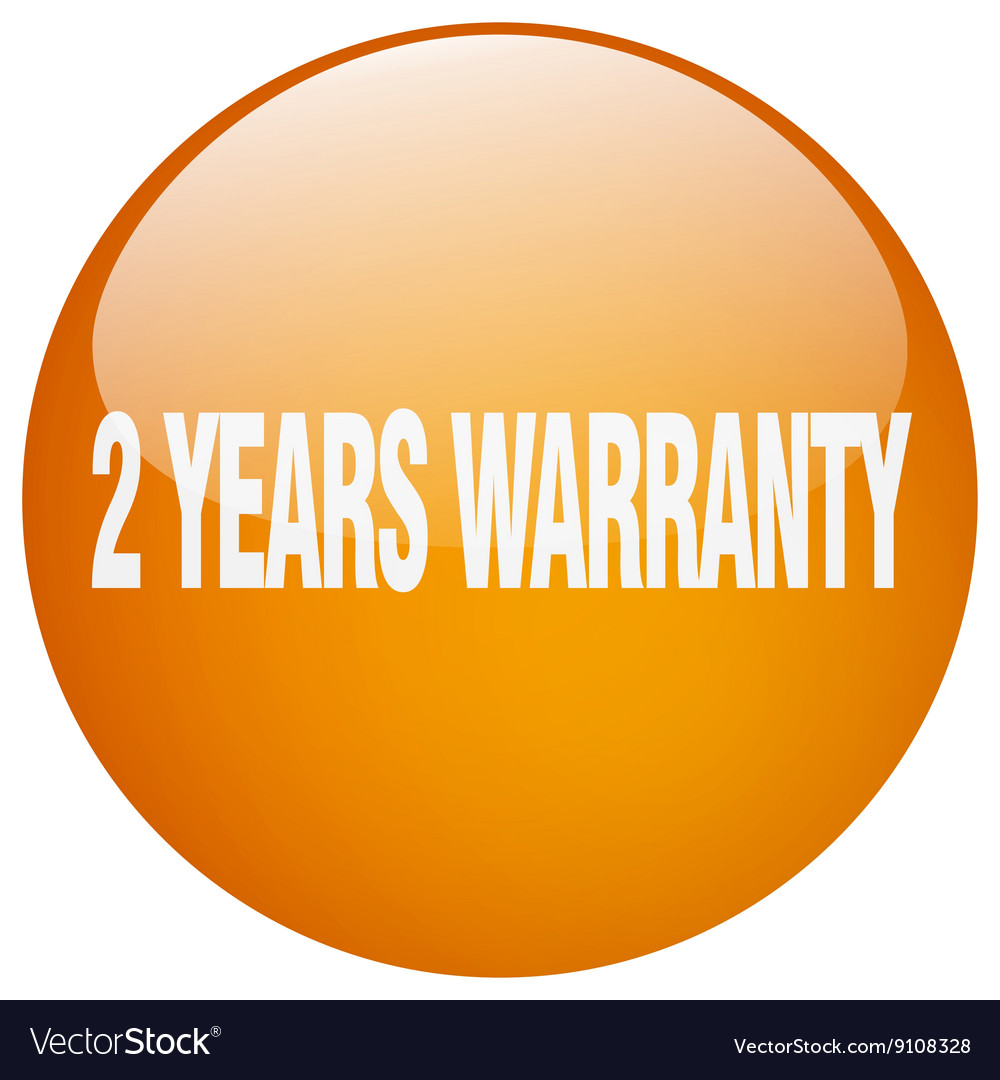 2 years warranty orange round gel isolated push