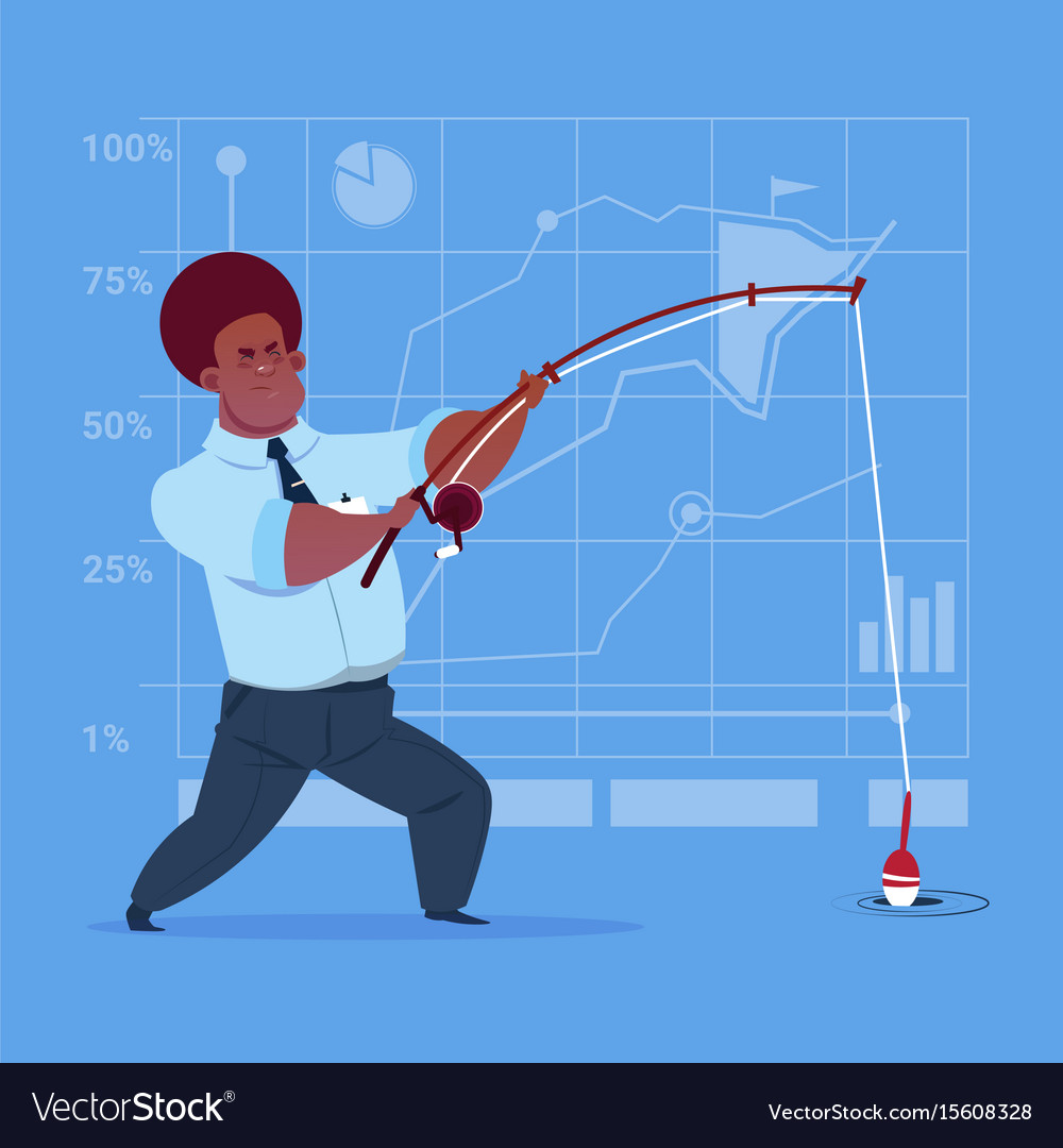 African american business man holding fishing vector image