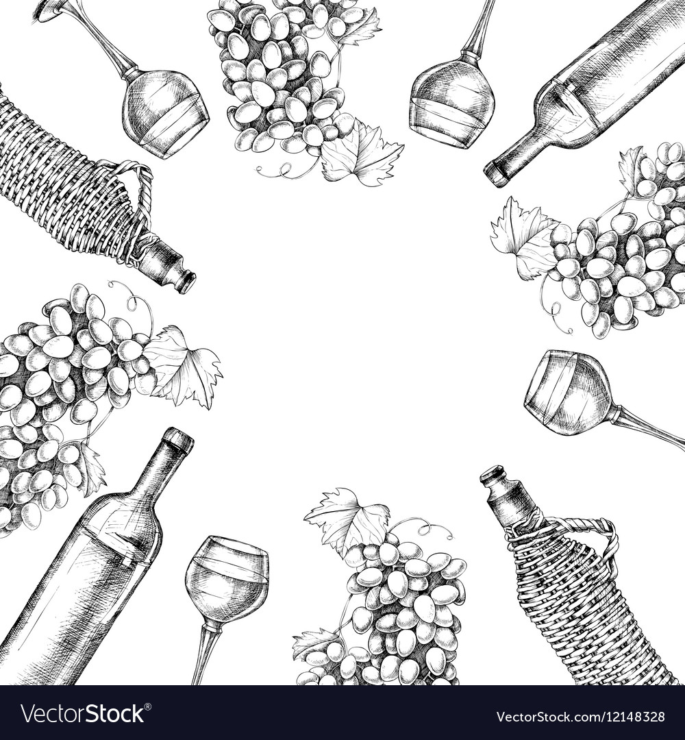 Background of grapes wine with hand-drawing style vector image
