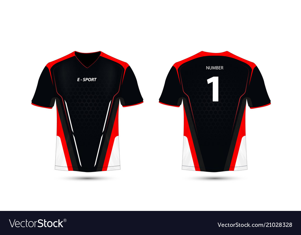 24f1803c Black red and white layout e-sport t-shirt design Vector Image