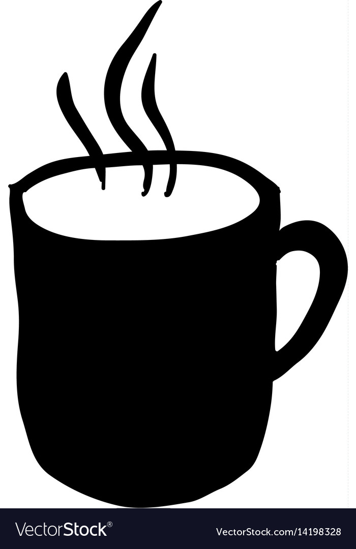 8083b64f766 Black silhouette hand drawn with hot coffee mug Vector Image