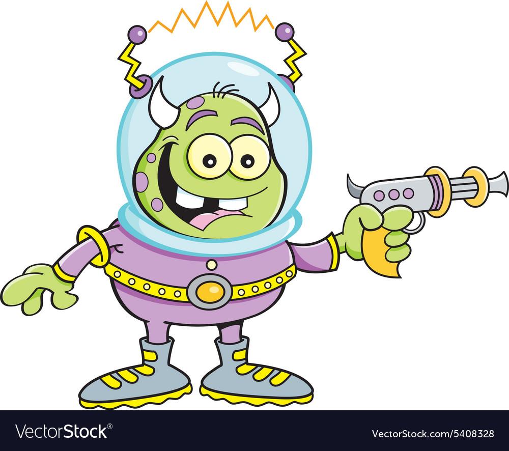 Cartoon alien with a ray gun