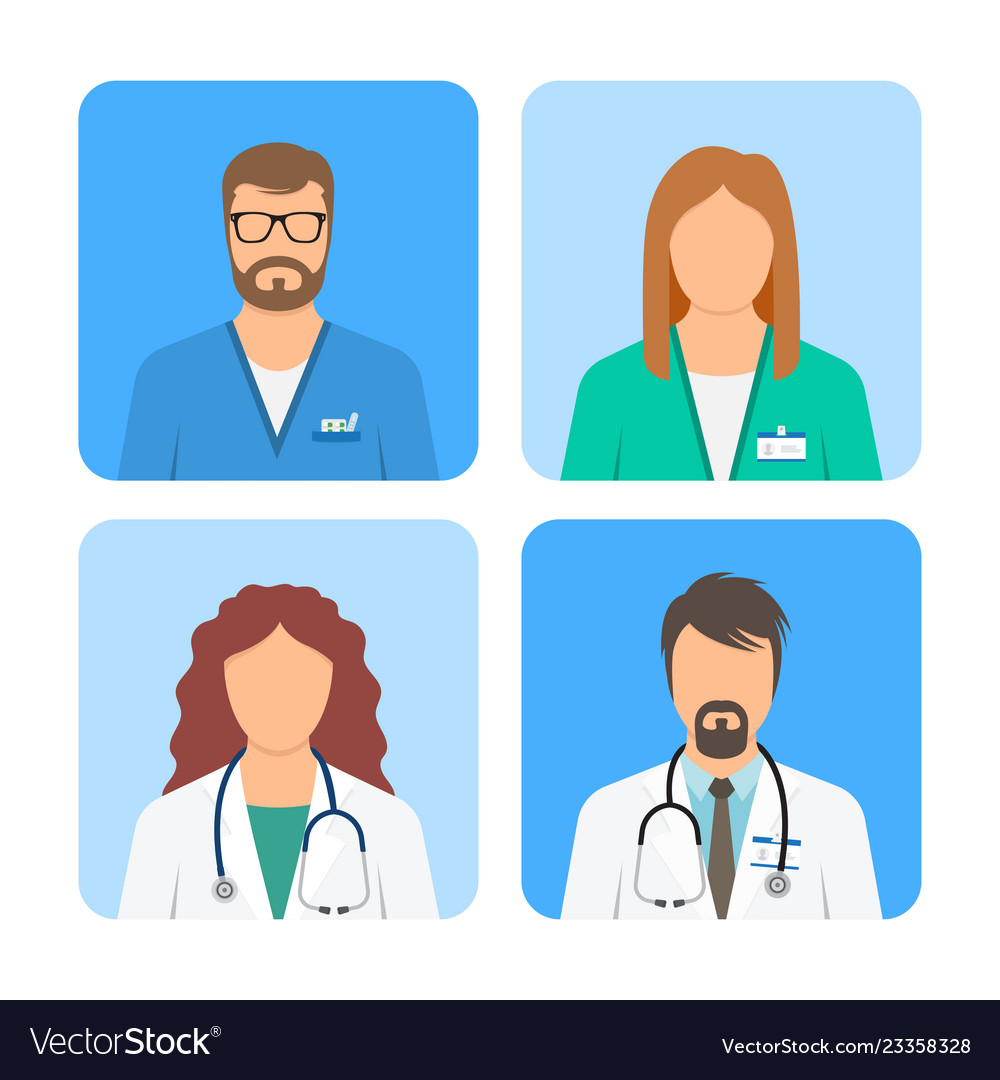 Doctor and nurse avatars icon set