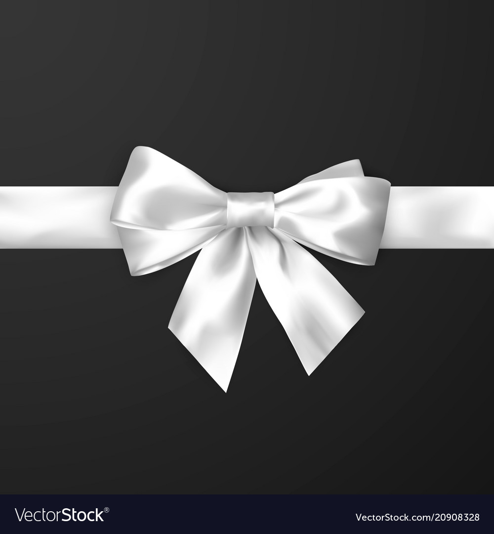 Elegance white satin bow with ribbon isolated on