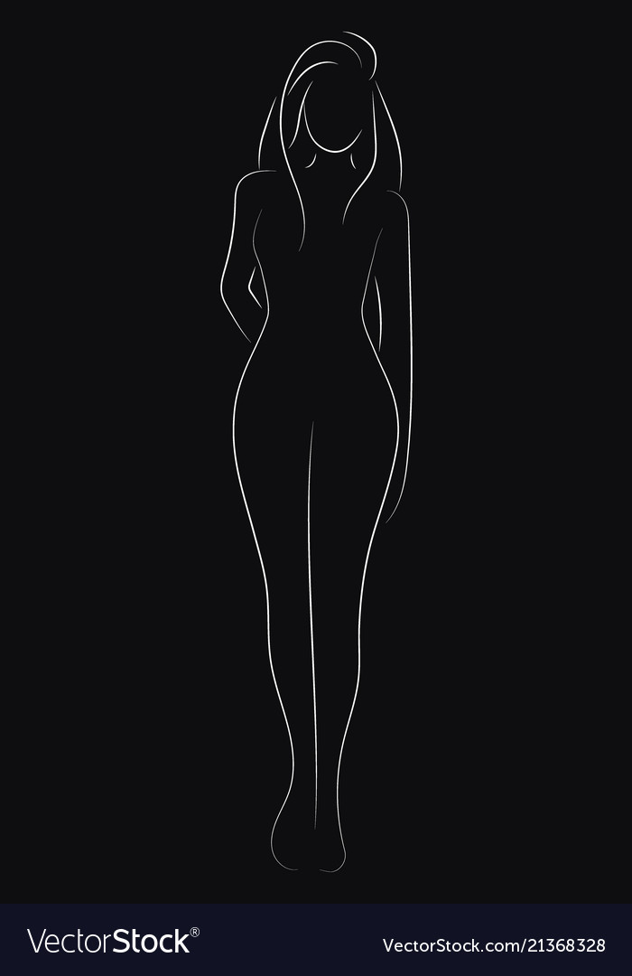 Female figure outline young girl stylized