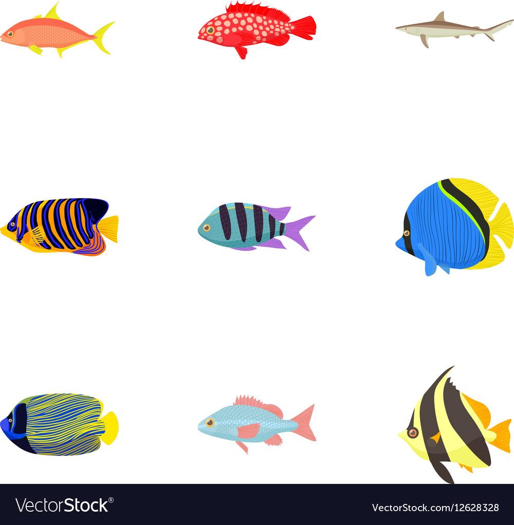 Fish icons set cartoon style