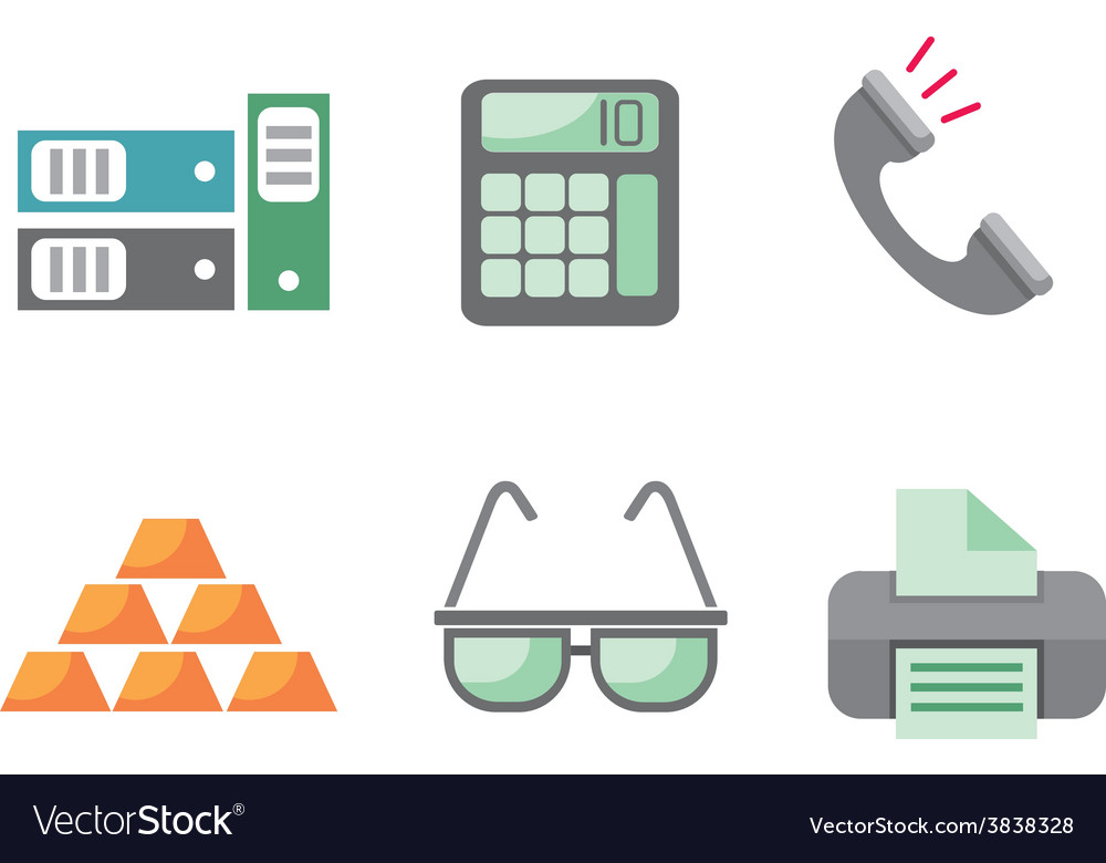 Flat design business and office objects in