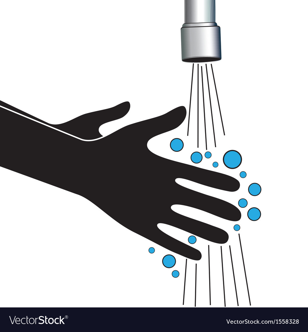 Hand washing under clean water tap vector image