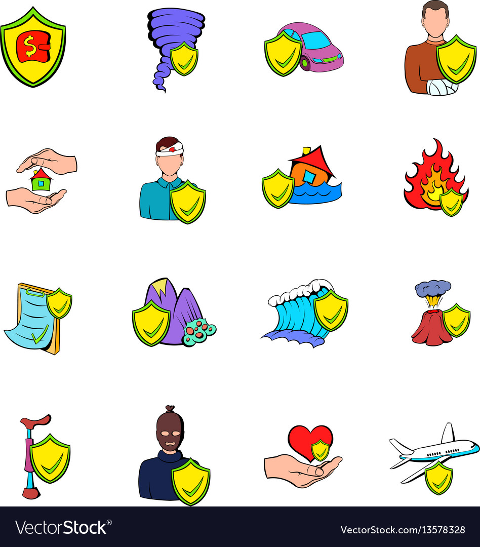 Insurance icons set cartoon