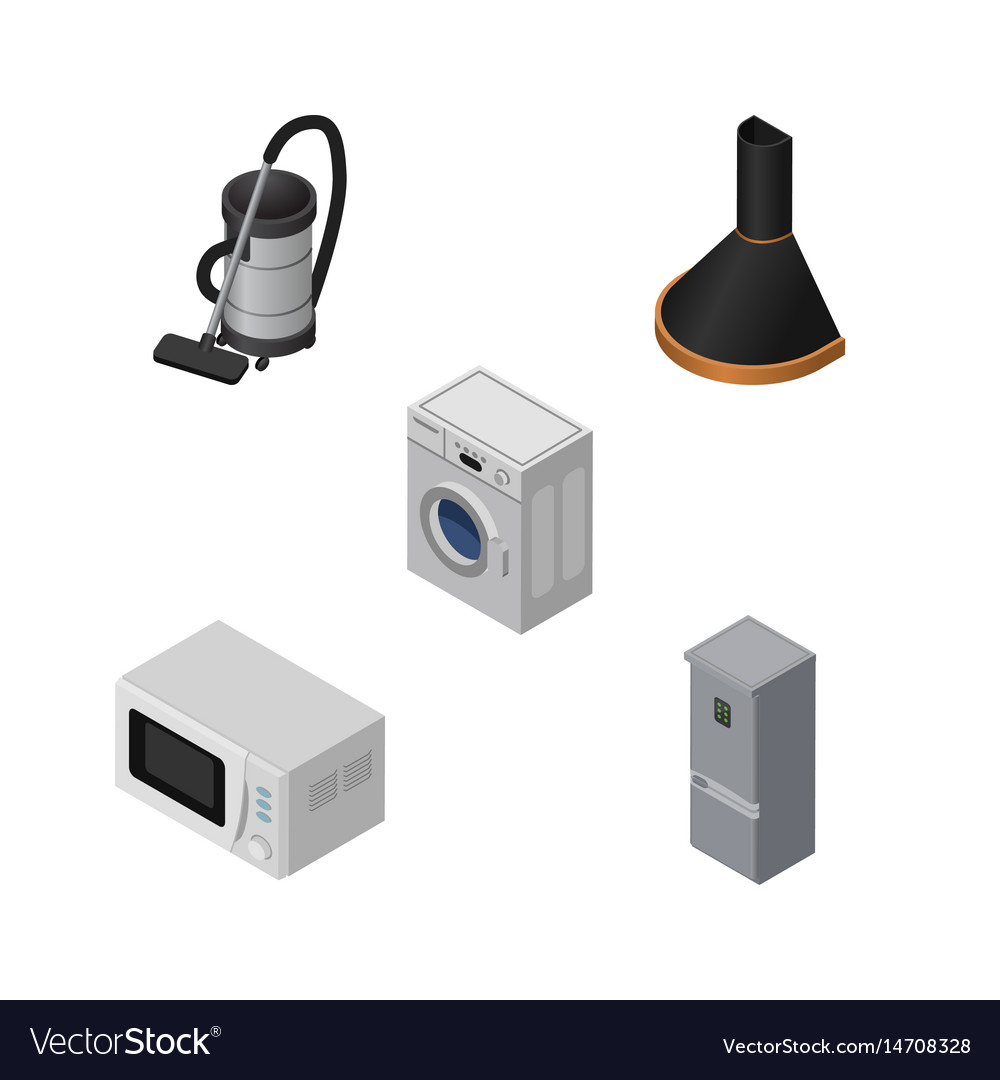 isometric appliance set of laundry vac microwave vector image