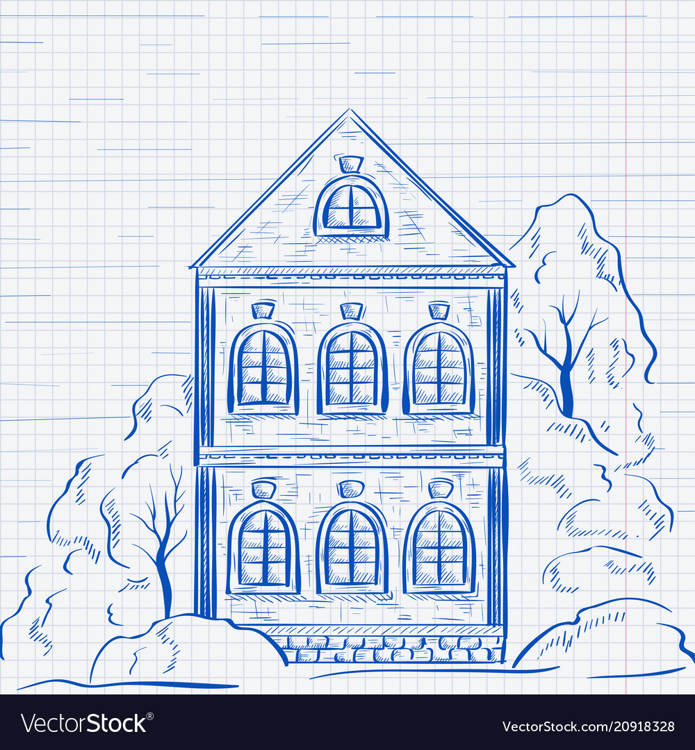 Old two-storey house with trees hand drawn sketch