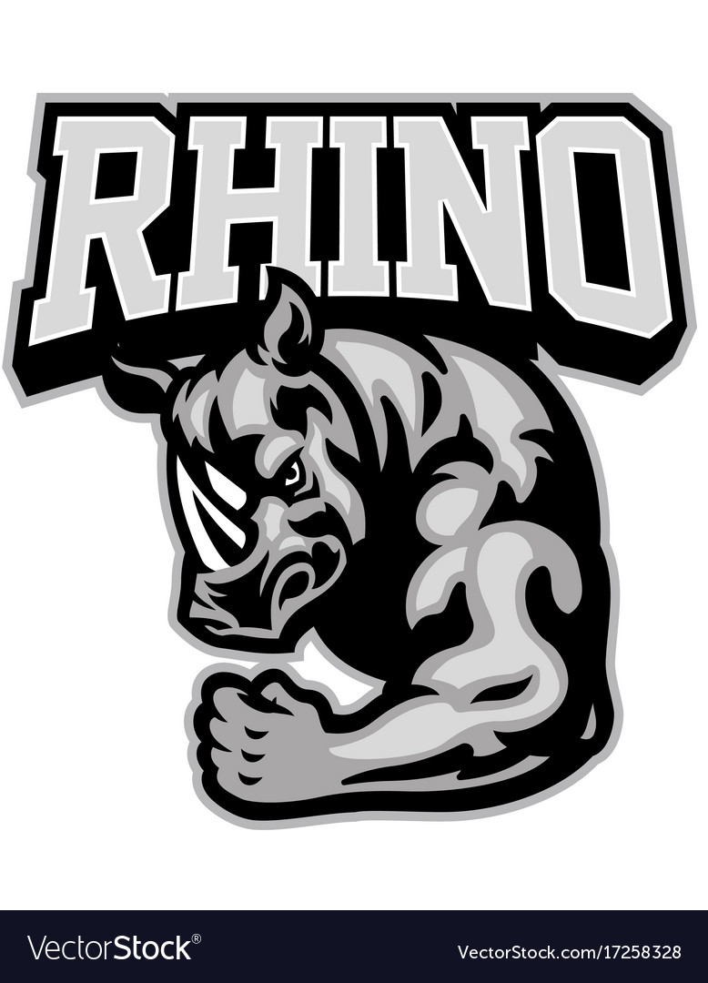 Rhino mascot showing his muscle arm vector image