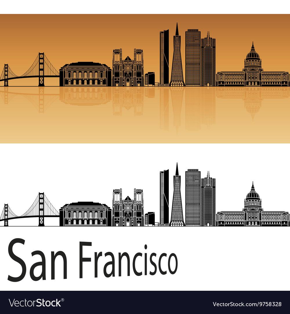 San Francisco skyline in orange