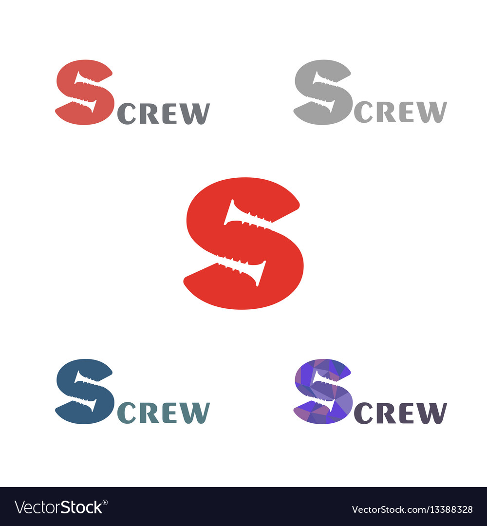 Set a simple logo with a silhouette of the screw