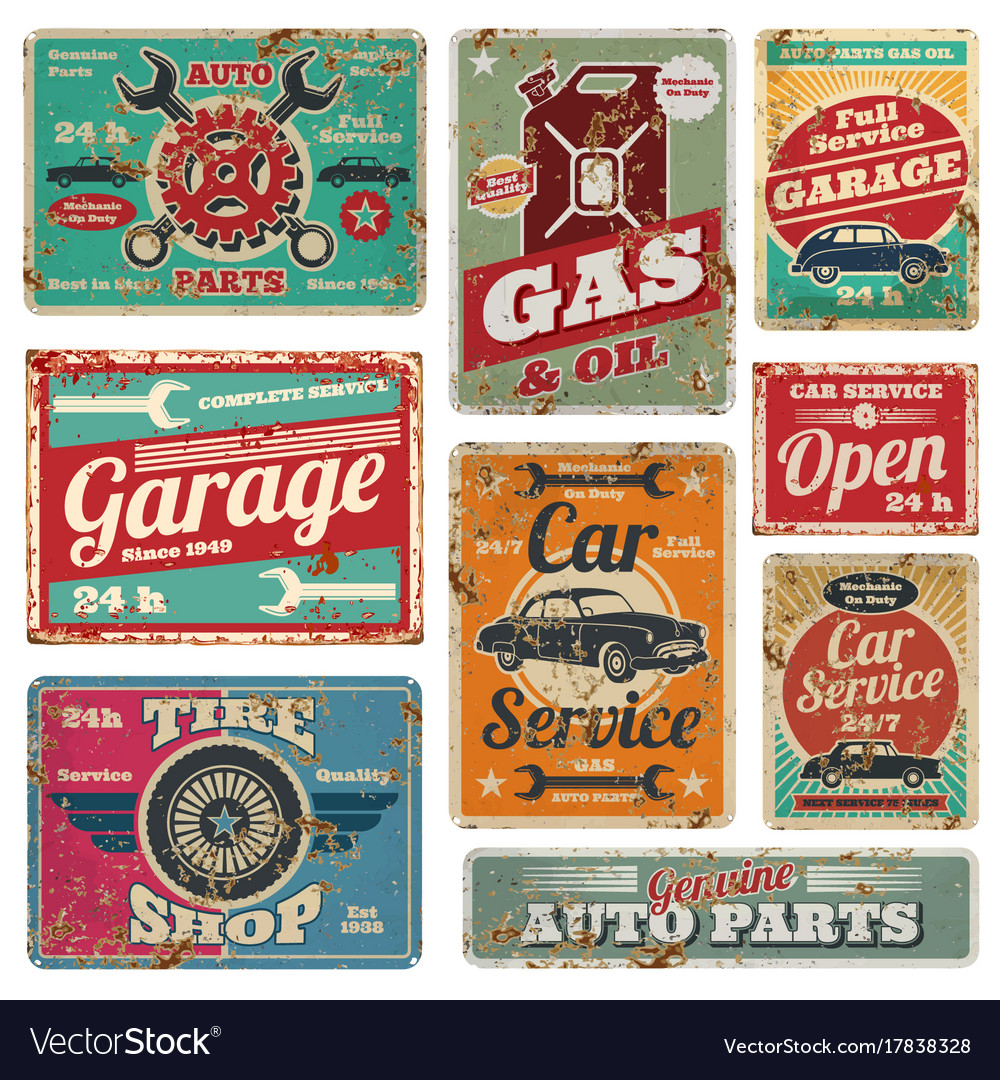 Vintage car service and gas station metal