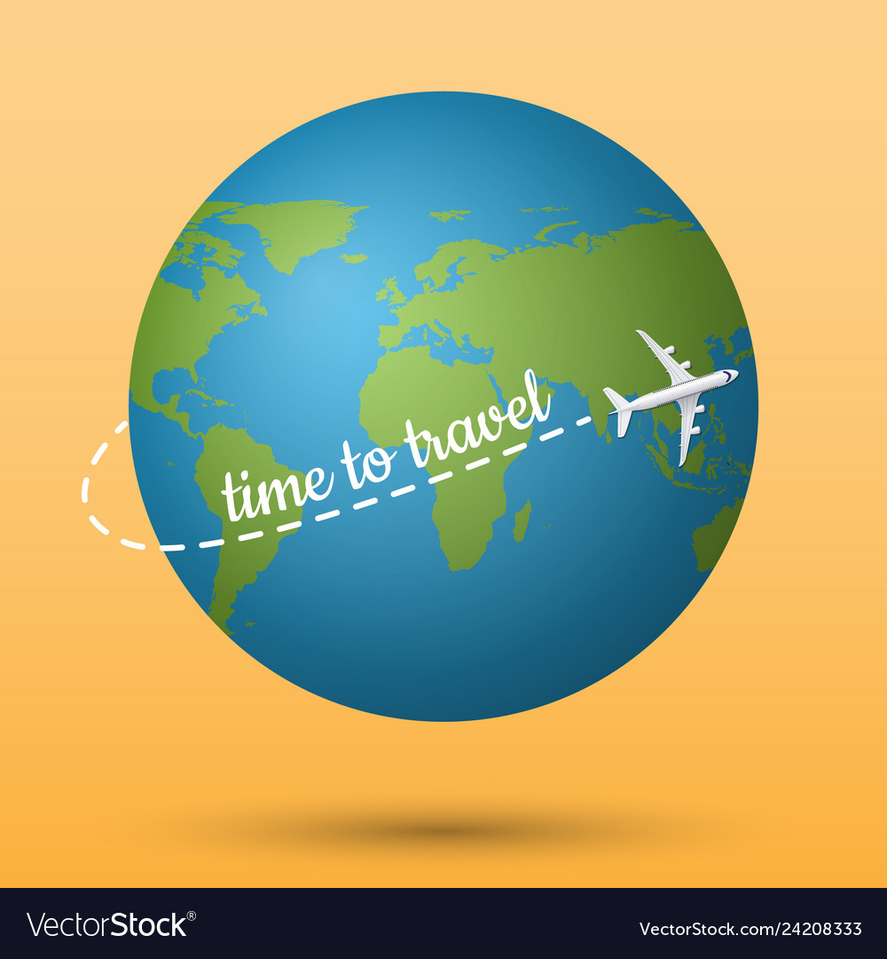 Airplane flying on the planet earth with time to
