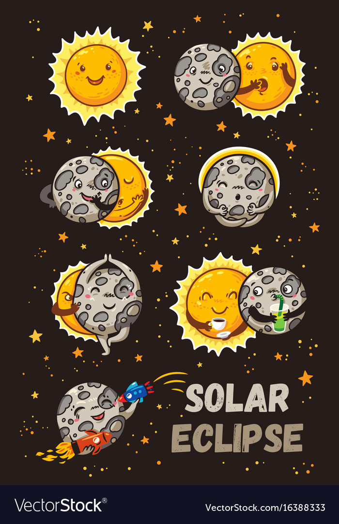 Cute moon practice of yoga solar eclipse in