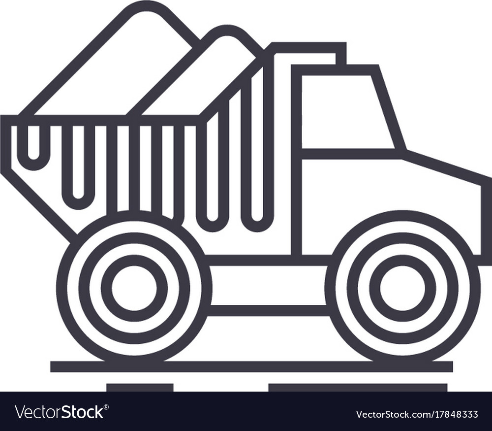Dumper truck with sand line icon sign vector image