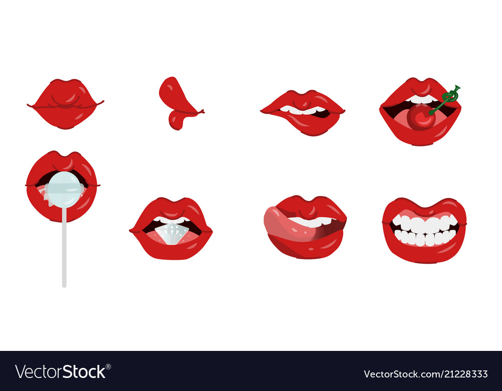 Female lips set of different gestures isolated on