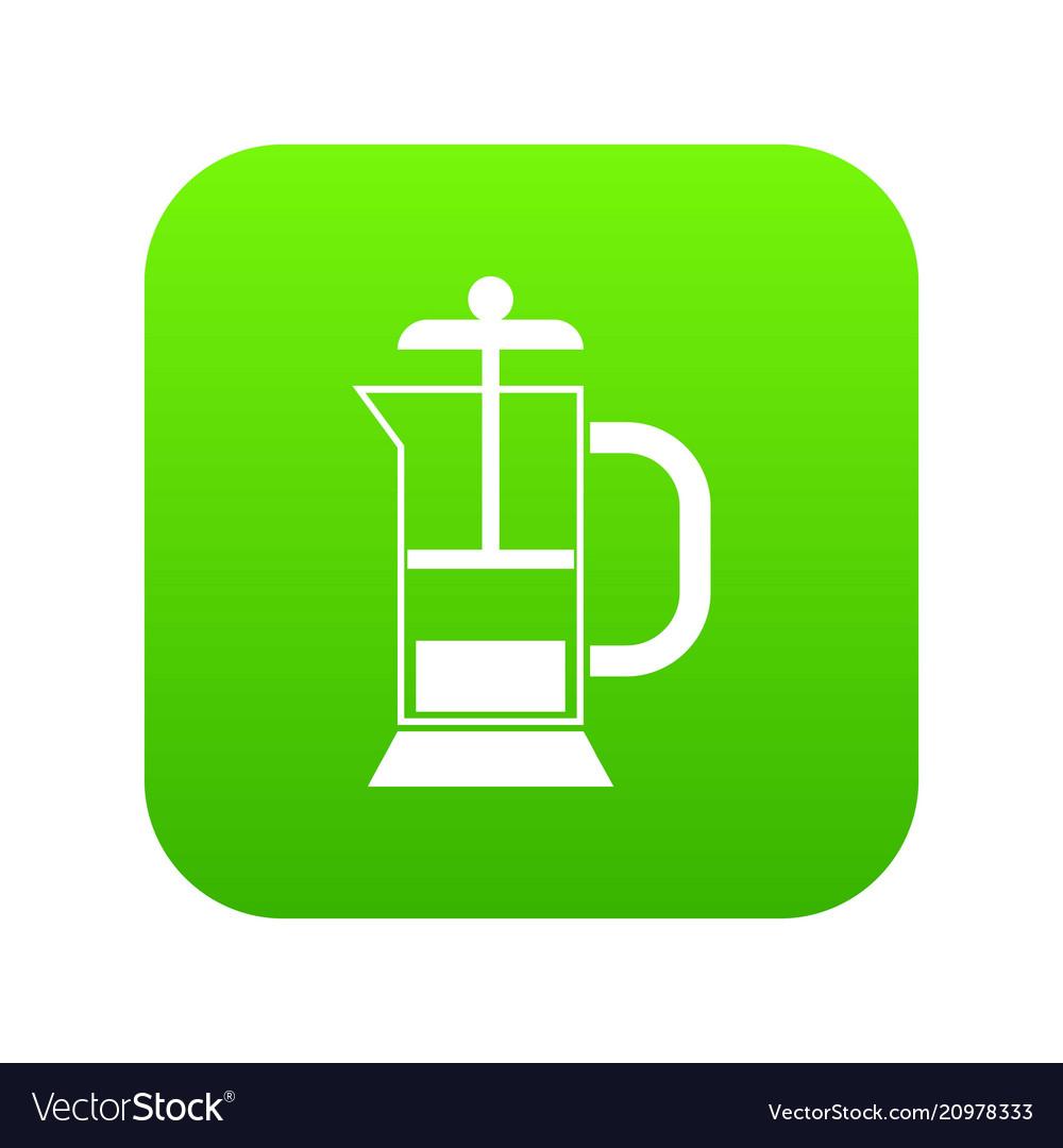 French press coffee maker icon digital green