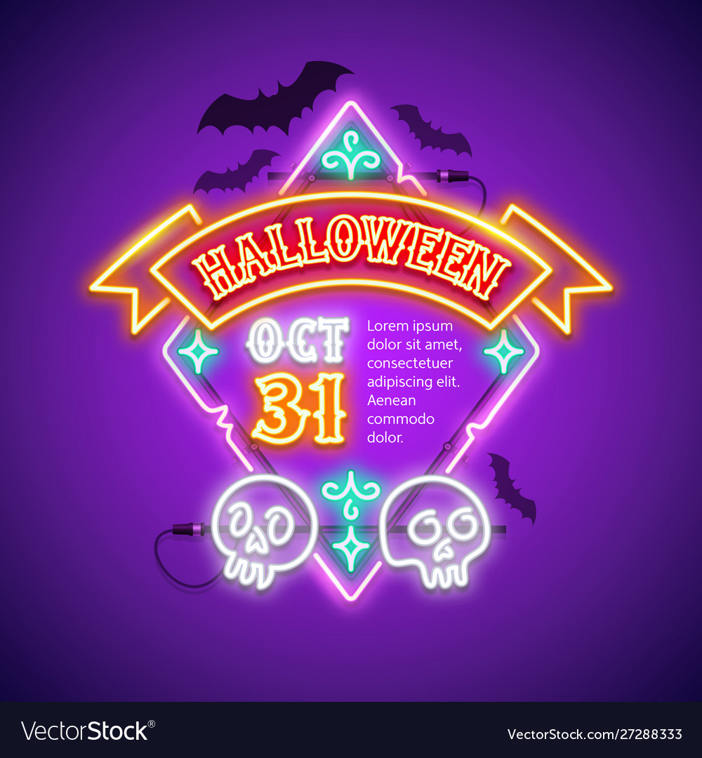 Halloween rhombic neon sign with ribbon