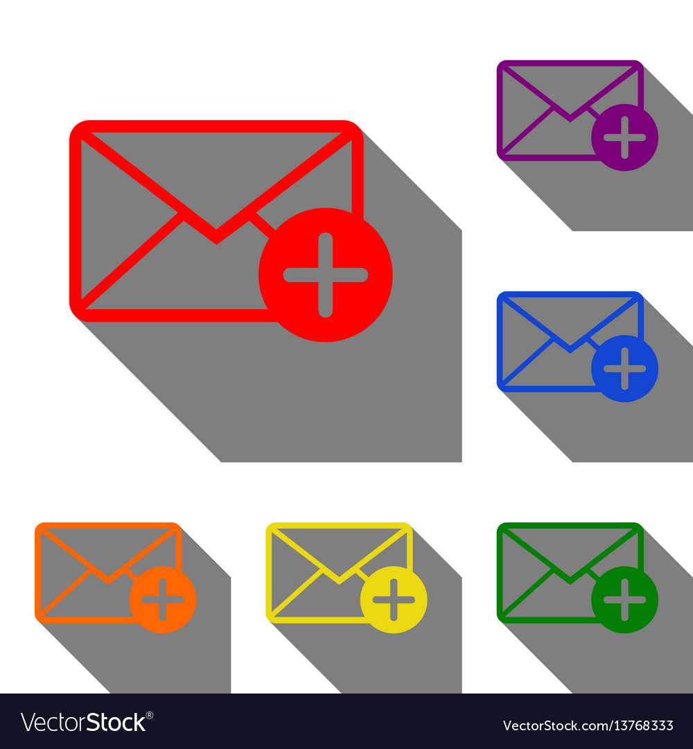 Mail sign with add mark set of red