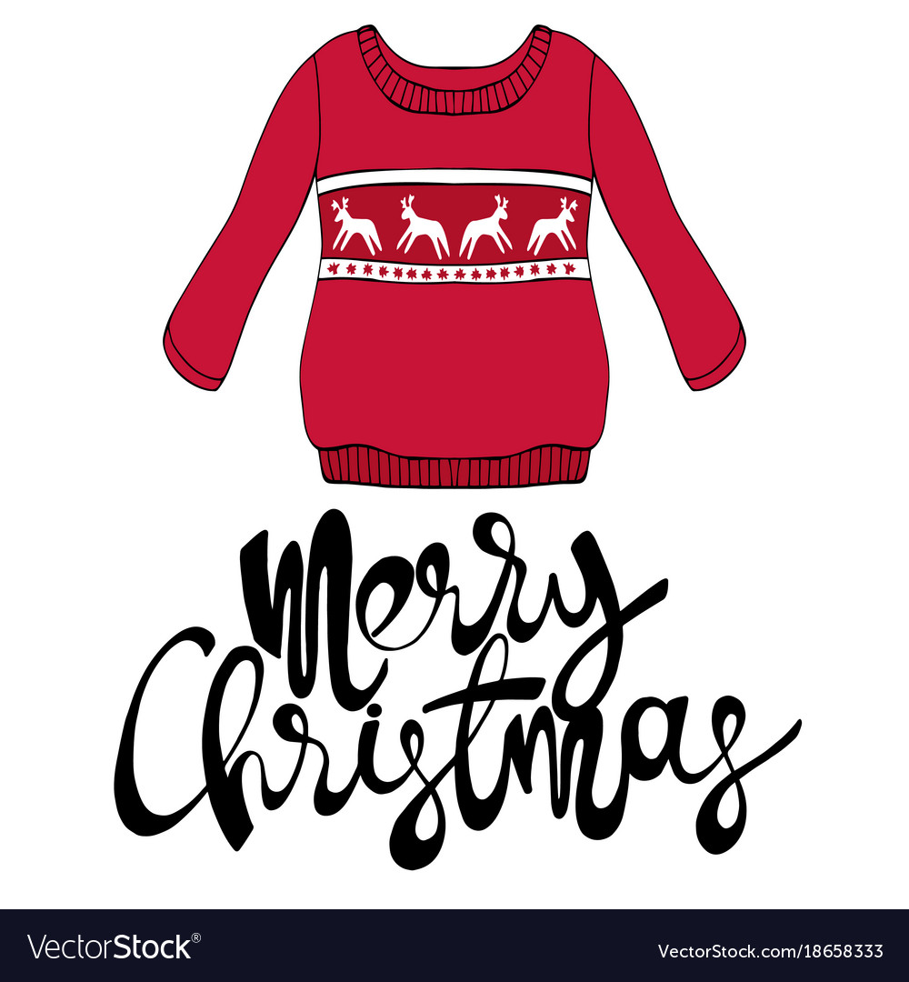 Merry christmas with a sweater for design vector image