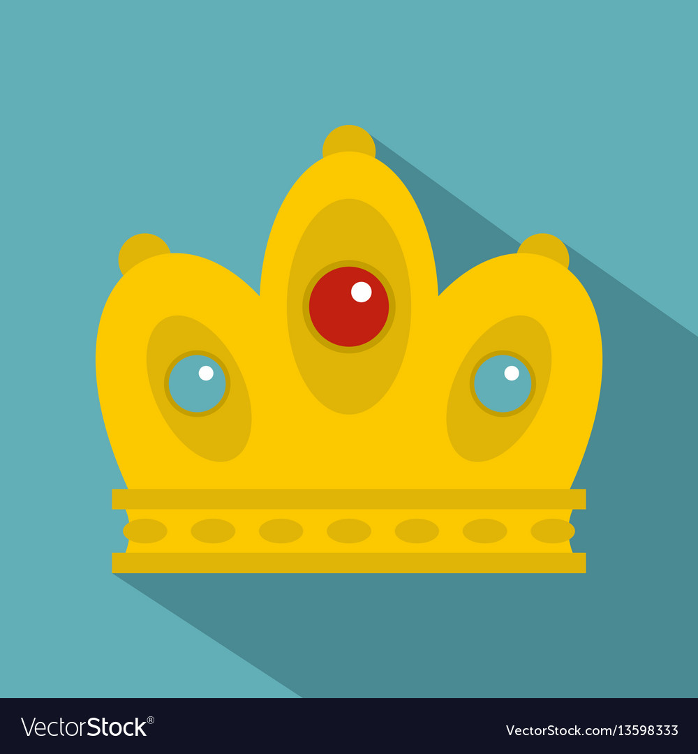 Queen crown icon flat style