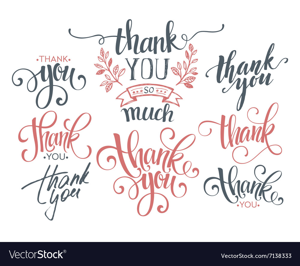 Set of custom THANK YOU hand lettering