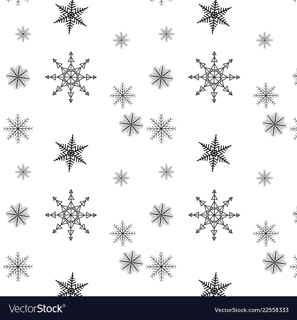 Snowflake simple seamless pattern black snow on