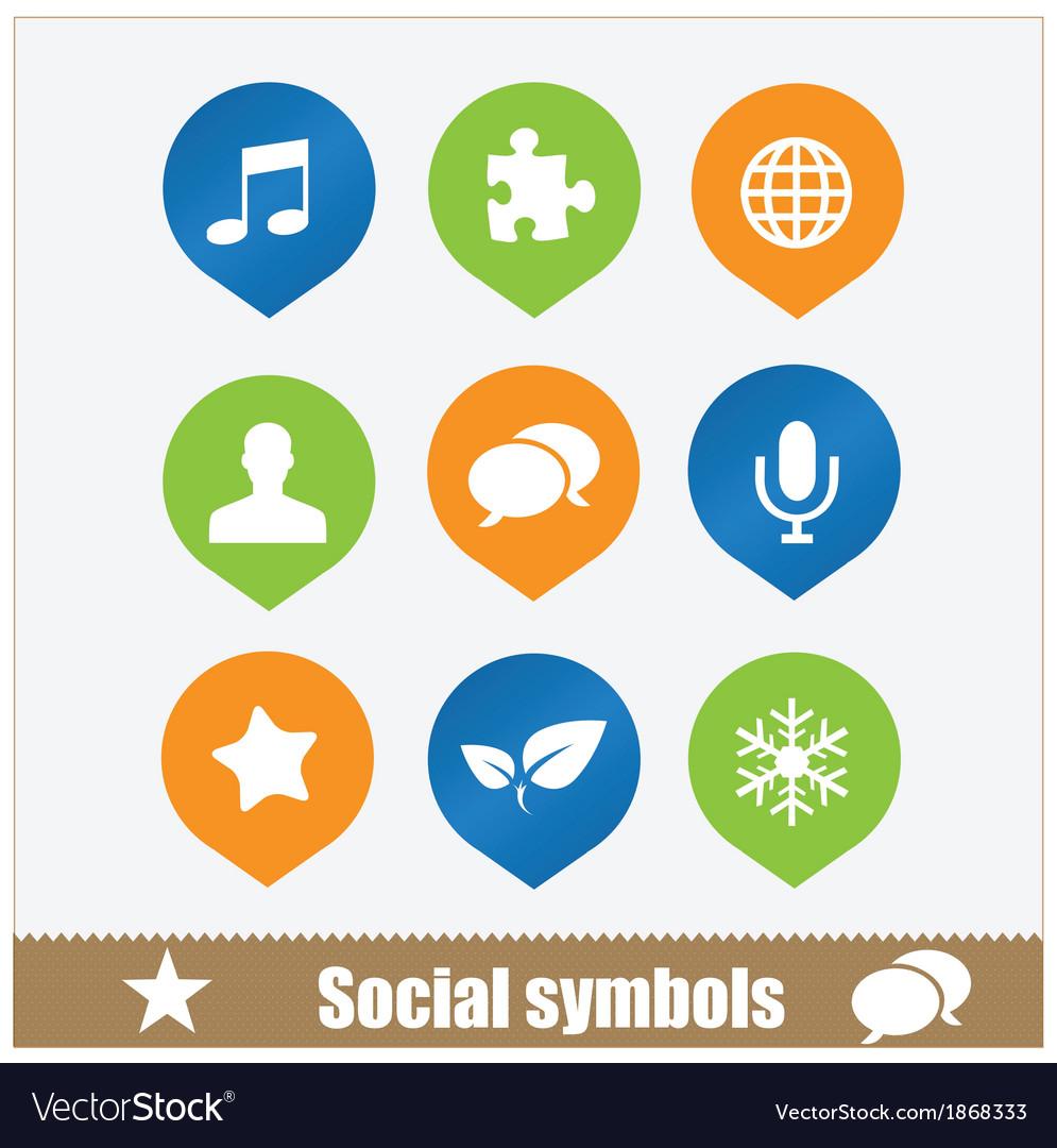 Social symbols web media set