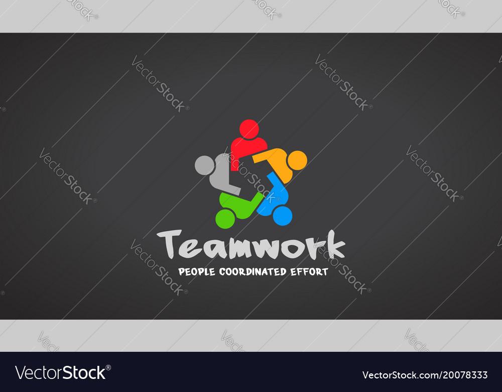 Teamwork people logo design vector image