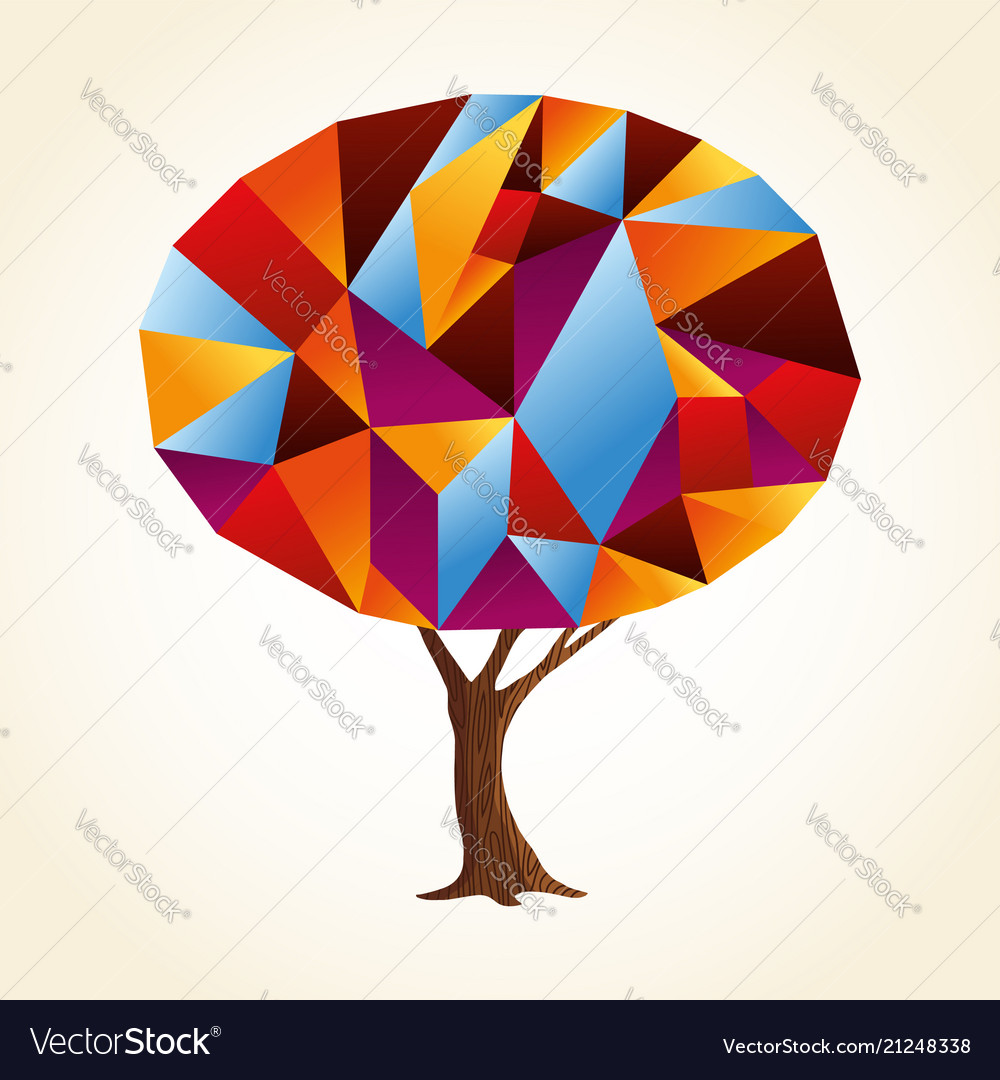 Abstract shape tree concept in vibrant colors