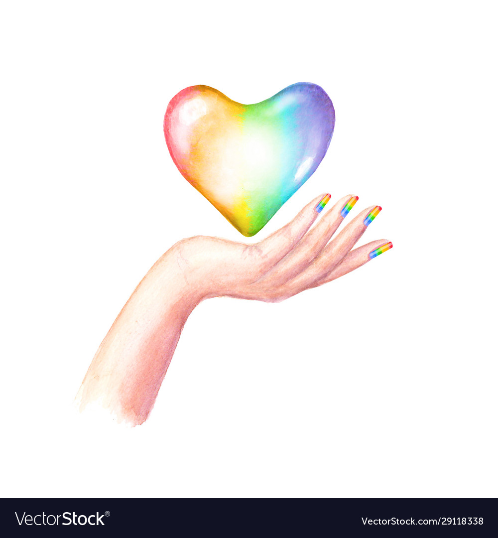 Beautiful woman s hand with lgbt flag colors