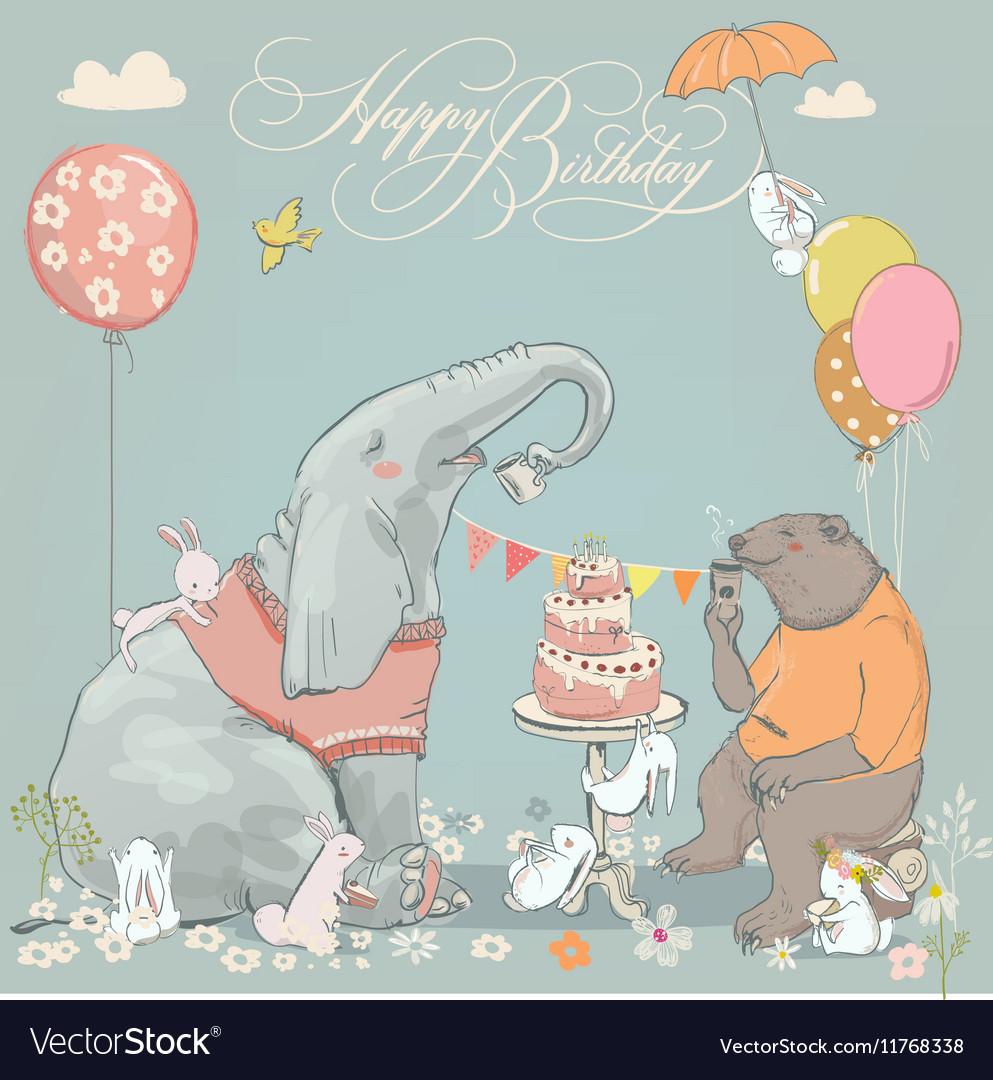 Birthday card with cute bear elefant and hares
