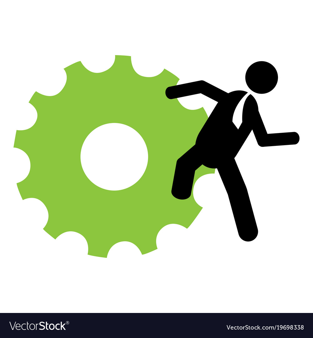 Businessman holding a gear vector image